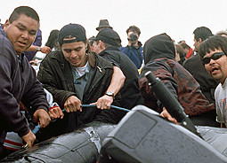 A group of Makah men aggressively steal the Sea Shepherd Zodiac.