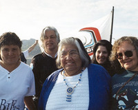 Captain Paul Watson and Sea Shepherd Director Lisa Distefano with Makah elders who wanted the whales to be saved.