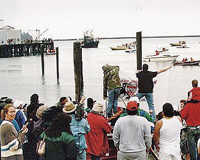 The Sirenian is joined by concerned citizens on the water of Neah Bay.