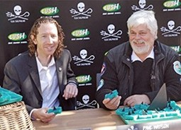 Captain Paul Watson of Sea Shepherd and Andrew Butler, the Global Campaigns Director for LUSH Fresh Handmade Cosmetics, launch the campaign to protect the sharks of the ocean.